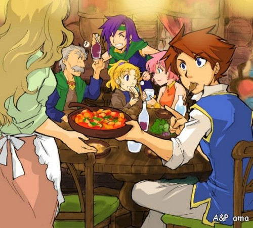 [Picture: Bartz, Faris, Lenna, Krile, and Galuf from FF5. They are sitting together at a table. Bartz is in the foreground, taking a bowl of food from a waitress and ordering another while a spoon is in his mouth. In the background, Krile and Lenna are sharing a laugh and Faris sharing another bottle with Galuf.]