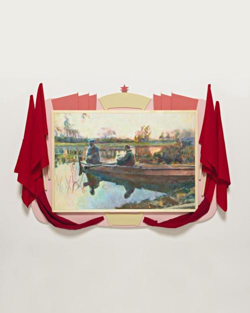 ILYA KABAKOV A Solemn Painting, 2005 Wood, cloth, acrylic, oil on canvas.  Overall: 127 × 177.8 × 7.6 cm (50 × 70 × 3 in); canvas: 73 × 105.1 cm (28 3/4 × 41 3/8 in).