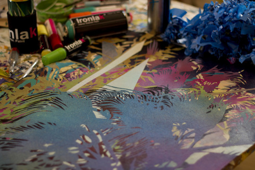 BLUE PALM INPROGRESS on Flickr. Via Flickr:Work in progress on the table with new paints from Ironlak, for upcoming show at RAID Projects, Los Angeles.  RAID PROJECTS, LOS ANGELES 602 Moulton Ave., Los Angeles, CA  California : Adulterated Landscapes and Deflated Icons Raid Projects is pleased to present California: Adulterated Landscapes and Deflated Icons, featuring the work of Anthony Ausgang, Brian Borlaug, William Emmert, Aaron Giesel, Susan Logoreci, Jason Manley, Travis Millard, Roland Reiss, Mark Ruwedel, Andrew Sexton, Devon Tsuno. Curated by David De Boer and Kio Griffith. Opening Reception: Saturday, June 18, 7pm-10pm Show runs from June 18 to July 9, 2011 California: Adulterated Landscapes and Deflated Icons aims to create a dialogue between artworks that represent a disintegrating California landscape and artworks that portray hollywood-bred iconic figures who have often failed to transcend their aging careers. Within this dialogue are questions of which of these has had the greater influence on the culture itself. Inspired by artists who use their local culture as source material for producing bodies of work, this exhibition is responding to the Getty Research Institutes Pacific Standard Time initiative; a multi-venue exhibition that focuses on postwar art in Los Angeles. FACEBOOK EVENT:  https://www.facebook.com/event.php?eid=136376359770524