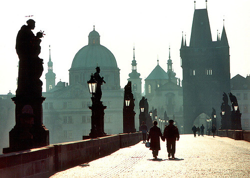 allthingseurope:  Czech Republic - Prague  (by Darrell Godliman)  The background looks like a watercolor painting ^___^ Or a still from a Tim Burton animated film!