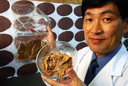 These are burgers made from poop created in an effort to recycle and reuse human waste.