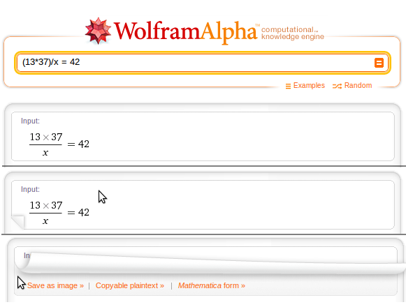 Wolframalpha - When you move the mouse to the corner of a result it reveals useful contextual links. /via John