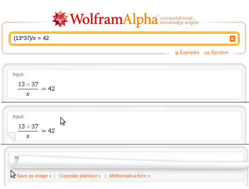 littlebigdetails:  Wolframalpha - When you move the mouse to the corner of a result it reveals useful contextual links. /via John