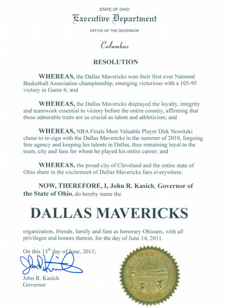 Dallas Mavericks named honorary Ohioans. I wonder if Dan Gilbert had a hand in this.