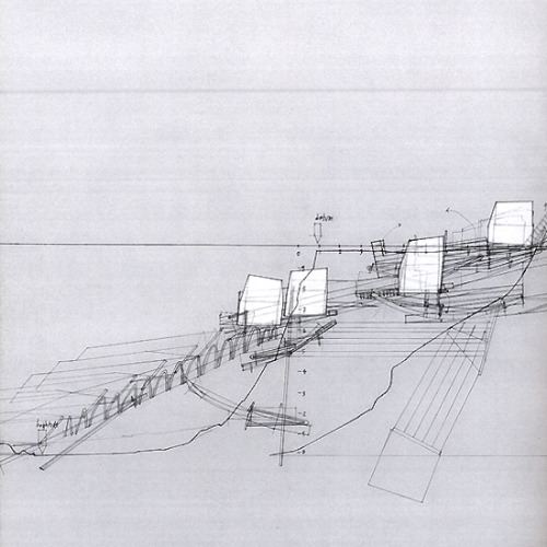 drawingarchitecture:  Houses on the Move, Proposal for a Retreating Village Smout Allen 2007. pen on paper.