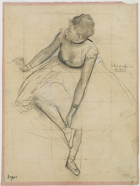 art-history:  Edgar Degas, Dancer Adjusting Her Slipper, 1873. Graphite heightened with white chalk on faded pink paper, 33 x 24.4 cm. Metropolitan Museum of Art, New York   edgar degas