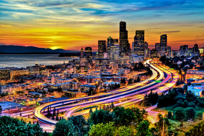 Seattle in Motion at Sunset by Jason Hoover #Photography #HDR