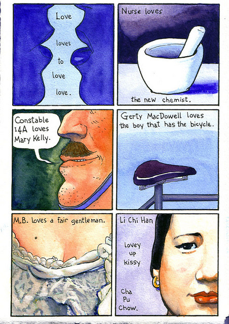 "from ULYSSES 1 by davidlasky on Flickr.Beautiful 3-page comic based on a paragraph from ""Ulysses"" by James Joyce. Lovely!"