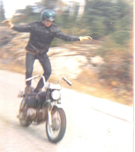dadsaretheoriginalhipster:  Your dad was a risk taker before you were and hospitals knew him by name to prove it. He's surfed Harleys, dove from planes and done just about everything else that could get a man killed. He was an addict that couldn't live unless his blood was intoxicated with adrenalin. Sure, he's snapped bones from top speed falls and had countless skin suit alterations, but it was worth it to be king shit of the streets. Fear was a foreign thing to him and his scars were daily reminders of awesomeness past.  So hipsters, next time you're pedaling recklessly down a hill on a fixie with no brakes while not wearing a helmet because it will disturb your hair style, remember this… Your dad wrote the book on how to cheat death on the reg and he's given the finger salute to the reaper more than once.