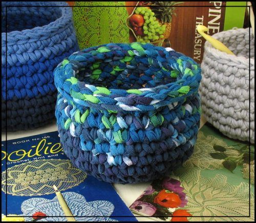 Crochet Bowl made using Recycled T shirt yarn  via etsy