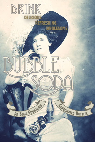 Drinking soda never looked so classy. 1920s fictional soda company ad, super fun project I did for work. It has a small collage element, the soda bottle was put in, in the original she's just holding the flowers.
