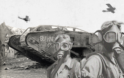 World War I war masks collage. A really fun photoshop project combining three different vintage images. The planes, tank and people were all separate images that needed to be processed to look the same in terms of lighting, texture, noise, scale, etc.