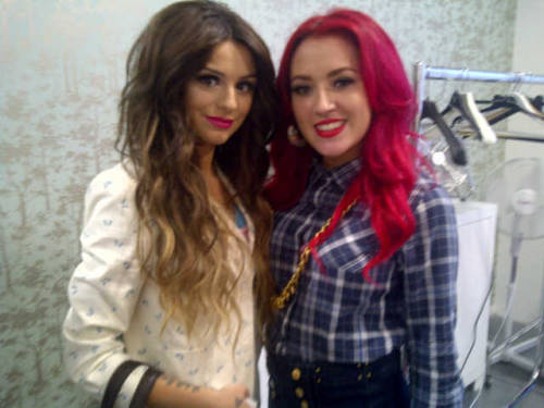jamiemcfarland:  Michaela with Cher Lloyd at T4 Studios