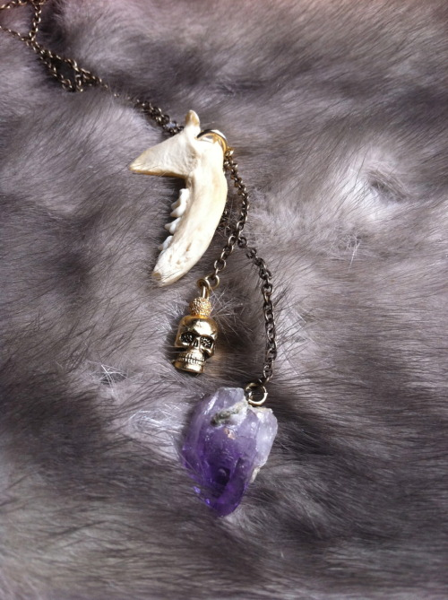 mink jaw, brass skull, and hand-drilled amethyst made (again) by yours truly - JEWEL THIEF BITCHES