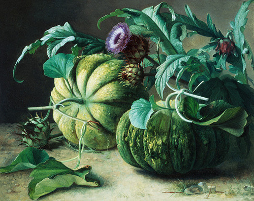 oldpainting:  Carl Vilhelm Balsgaard, A Still Life of Pumpkins and Artichokes, 1832-1893