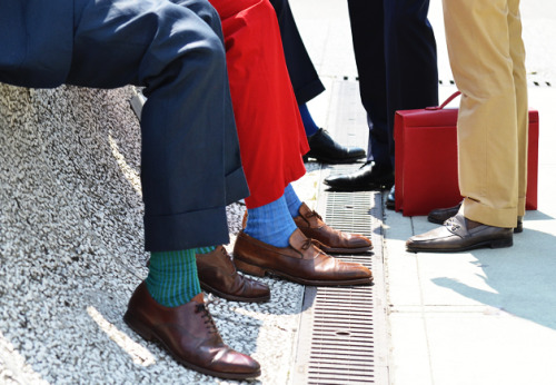 Coloured socks…right up Reeco's alley! gqfashion:  Pitti Uomo street style, by Tommy Ton for GQ.com.