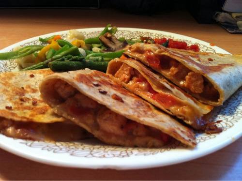 Salmon Quesadilla -la tortilla factory low carb/high fiber tortilla (2, 50 cals each) -1/4 cup shredded cheese -2 tablespoon chunky salsa -green beans as a side -3 oz canned wild caught salmon  Directions: mix salmon, salsa and cheese in a bowl. Spoon into tortillas. Fold in half. Spray pan with olive oil. Cook quesadillas for 3 minutes on each side and press down to flatten with spatula.  Good blend of protein, fiber, and calcium. Also, never forget your veggies!