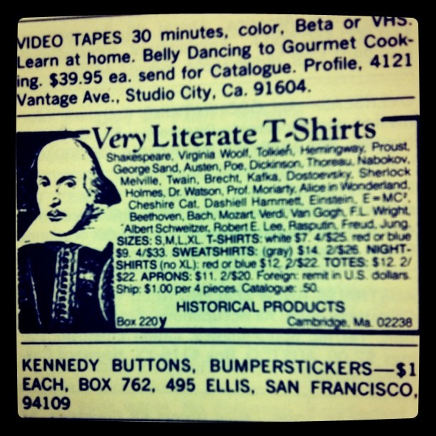 *Very* Literate T-Shirts (Taken with Instagram at 1980)