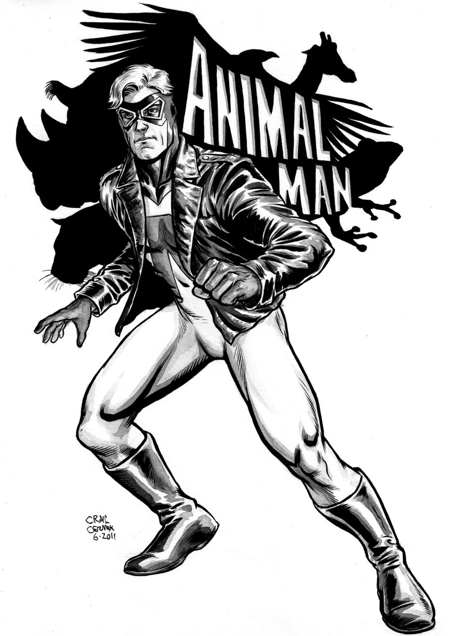Animal Man piece I did for my friend and I's daily sketchblog… clubchevon:  Animal Man! One of my favorite DC characters, particularly because of Grant Morrison's run on the comic (go figure). -Craig Cermak