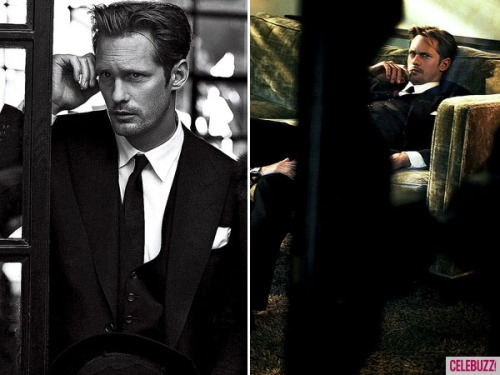 True Blood hottie Alexander Skarsgard suits up for a Vogue Magazine shoot. Who's loving his sexy getup?