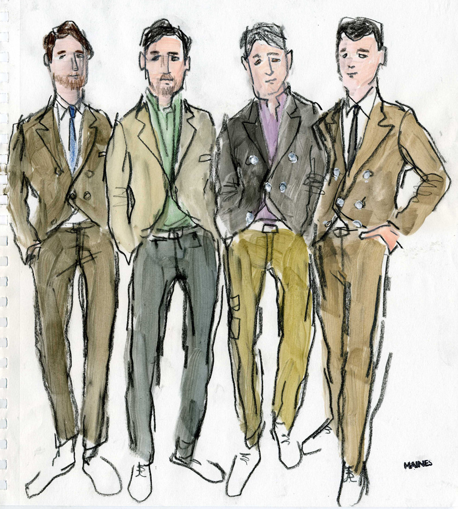 Illustrator Richard Haines captures a Brunello Cucinelli moment at Pitti Uomo. See more sketches here.