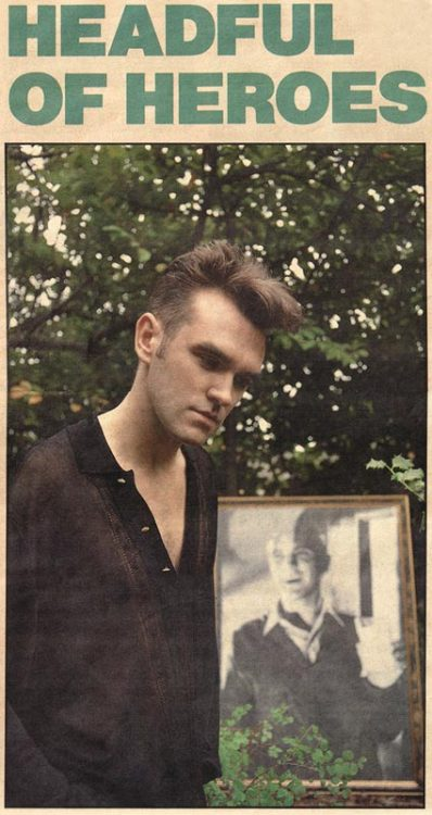 "daaramfavs:  Headful of heroes: Morrissey in the N.M.E 16th September 1989 In the frame the original picture used for the Single's cover of :""What difference does it make""  Beautiful pic! #Morrissey"