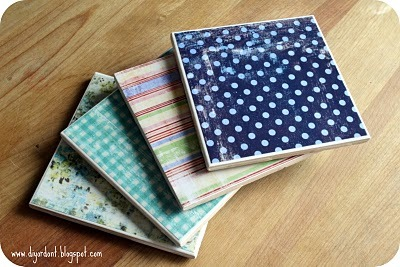 How to make your own tile coasters. (via DIY or Don't!: {Tutorial} DIY Drink Coasters)