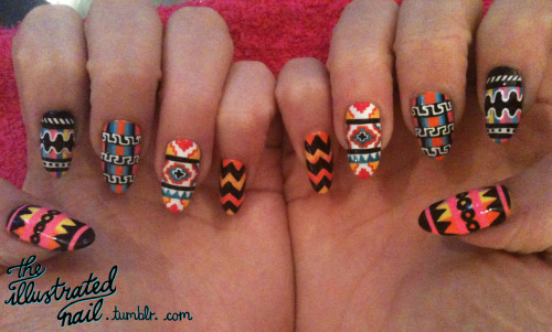 theillustratednail:  TRIBAL MIX!