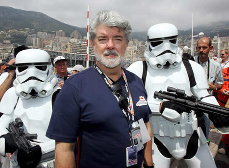 The Storm Trooper cod piece design was inspired by George Lucas' neck.
