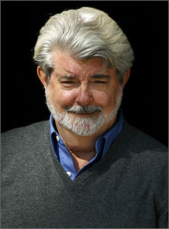 It looks like George Lucas is in a staring contest, but in fact it's his neck that is in a bulging contest.