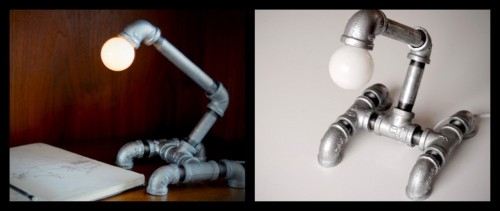 "DIY Make ""Industrial Chic* Lamp"" from Pipe Fittings. Detailed tutorial on Manmade site. Kind of reminds me of the Pixar Lamp i.e. it has a personality of its own. *The creator of the lamp named it ""Industrial Chic"" which I interpret to mean stylish in its own genre (responding to comment)."