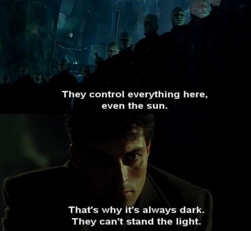 """so I picked up the DARK CITY blu-ray todayand the high school kid checking me out said, """"I've never heard of this movie, what is it?"""" and I was all, """"LOOK AT YOUR LIFE LOOK AT YOUR CHOICES"""" he promised he would make it a priority to amend his situation just doing my part to make the world a better place"""