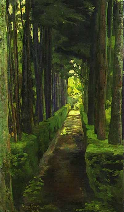 "I was so intrigued by this amazing painting of a woodland path by Diego Rivera, that I tracked down a little more information on it.  ""La Castañeda"" 1904 Franz Mayer Museum, Mexico City. A detailed chronology of his life and work can be found here.  And this modern-day photo is aptly titled ""La Castañeda."""