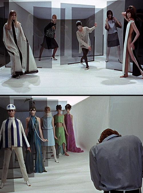 "Blow-up (1966, dir. Michelangelo Antonioni) ""You knew you were in the presence of a great man with Antonioni; he was an auteur supreme. He wanted everything exactly right. We had also heard how particular he was about colours. I'm colour-blind so I can't tell, but he was supposed to have sprayed the grass at Greenwich Park because he wasn't happy about the green. He was even said to have changed the colour of the marijuana in Blow-Up because he thought it was the wrong shade. I have never had such close coaching from any other director, and many actors wouldn't stand for it. Finally, on take 13: 'Cut. Print. Good. Peter, come with me.' So he took me off set and said to me, 'Peter, I understand. You wish to show the world what a fine actor you are.' He got that right. 'When you work with other directors you give them your performance and they film it. Not with me, Peter. You see I have chosen you for how you look. I have chosen all your clothes. If I move my camera six inches, I would ask you to do that line in a different way.' Upon this, he put his arms around me and held me close to him and said, 'Peter, believe in me. Trust me. I am not God, but I am Michelangelo Antonioni.' -Peter Bowles on the making of Blow-up (via)"