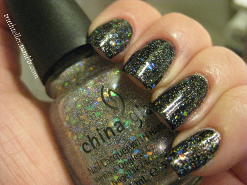"truthteller:  china glaze - shooting stars i ♥ holographic glitter. shooting stars is like a mix of ""techno"" and ""fairy dust."" aka, large and small holographic glitter.  This would be perfect for galaxy nails. lol I tried to do my own version yesterday and failed, I took it all off and did a simple gradient instead. I'll redo it soon."