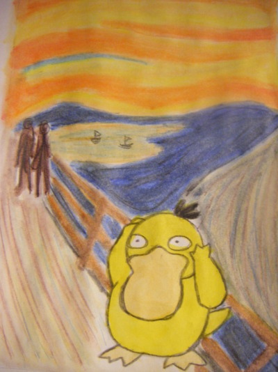 ostwinner:  THIS IS BEAUTIFUL.  I love psyduck. I remember seeing the episode where Misty tried and failed miserably to evolve hers, and I decided then I would prove how much of a better trainer I am so I went on my silver version, caught a psyduck, evolved it, leveled it to 100 and completed the game using only him.  Good times.