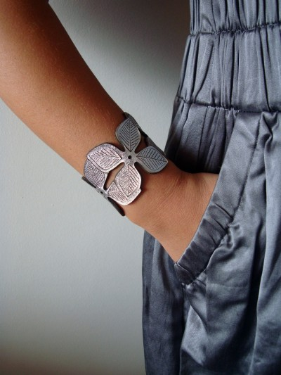 """Silver Flower"" Leather Cuff Bracelet by LemkaB"