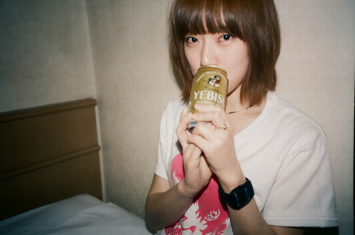 Yozoh with a can of Yebisu beer,