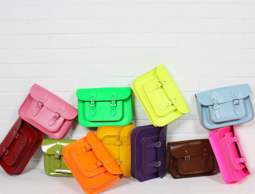 Wow - a psychedelic rainbow of leather satchels!