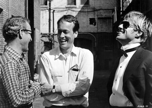 "Paul Newman, filmmaker George Roy Hill and Robert Redford share a joke between takes on the set of The Sting in 1972.  cinemamonamour: Robert Redford remembers Paul Newman:  ""Both of us were fundamentally American actors, with the qualities and virtues that characterize American actors: irreverence, playing on the other's flaws for fun, one-upmanship but always with an underlying affection. Those were also at the core of our relationship off the screen. Paul was very engaged at work. He was there. He liked a lot of rehearsal. But he was fun too. Whenever he'd make a mistake on set, he would enjoy it more than anybody. I'd look at him, and he'd look at me, and I'd say, ""You're not fooling anybody. You're not staring at me intensely; you've lost your line."" And he'd roar with laughter""."