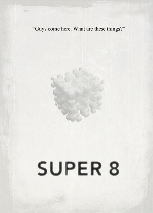 Caught Super 8 last night and it was a great flick. To be honest though, it wasn't brilliant. Too much lens flare and not enough clever storytelling were my main quibbles I guess. It captured the feel of all those old kids adventure movies such as Goonies and E.T. nicely, but something was lacking in my opinion. Plenty of nice tension throughout though so I was enthralled none the less. Don't let the negatives out way the good either, it was a really good film which I enjoyed immensely in the moment. Afterwards though I just felt like there were only two characters and the rest, while good, didn't really serve any point or meaning. I lost the picture reference/artist for the above poster design so hit me up if you know and I'll add it to the post.