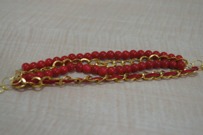 #132 Red and Gold Bracelet IDR 25.000 Please contact or ask us via Tumblr for further informations. ♥