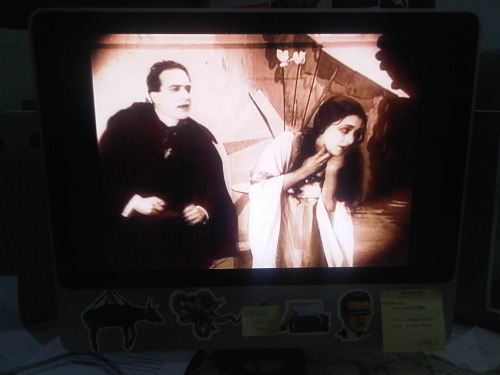Friday night: finishing The Cabinet of Dr. Caligari (1920) in the deserted office, alone, just for kicks (the iMac has quite good speakers).