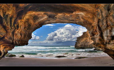 Sea Cave HDR - Ghosties Beach Rain Cloud (Revisited) by Stevpas68 on Flickr.