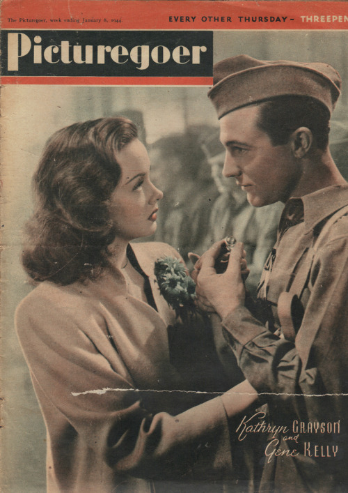 astarinsomebodyelsessky:  Kathryn Grayson and Gene Kelly magazine cover from 1944