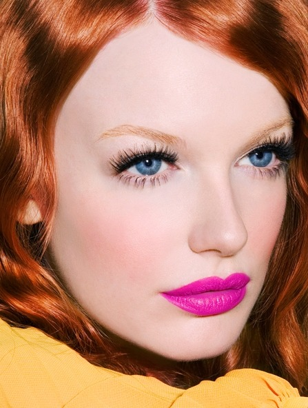 Gorgeous Electric Pink Lips with Wispy Lashes —- One word. Love.  Try Ardell Demi Wispies and NYX Shocking Pink Matte Lipstick, MAC Candy Yum Yum, or NYX Adis Ababa Soft Matte Lip Cream. Who else was seen sporting something similar?  Alexis Bledel, with big lashes, clean face, and electric pink lips.