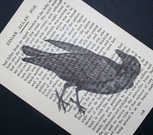Nevermore!  Raven print on vintage Edgar Allan Poe
