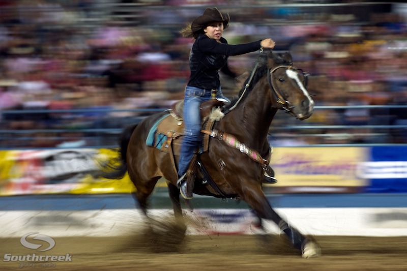 Barrel racer Rylee McKenzie of St. Paul, AB competes at the Reno Rodeo.