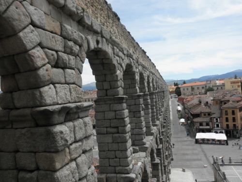 roman aqueducts in Segovia…. I managed to get on top of it (dont recommend…. i literally almost died trying either falling off or getting impaled by the spikes blocking it.. but here's the view from the top…. yehhh    [J]
