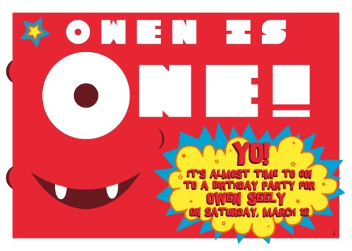 Invitation for Owen's first birthday party. Created in Illustrator.